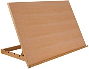 "SoHo Urban Artist Drawing Board Extra Large 19.75"" x 30"" 5-Position Adjustable Wood Drafting Table Easel for Painting, Drawing, Sketching - Natural Beechwood Finish"