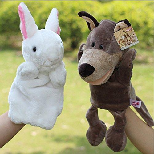 Puppets Finger Royal (2pcs Wolf White Rabbit cartoon children's stuffed animal hand puppet finger even)