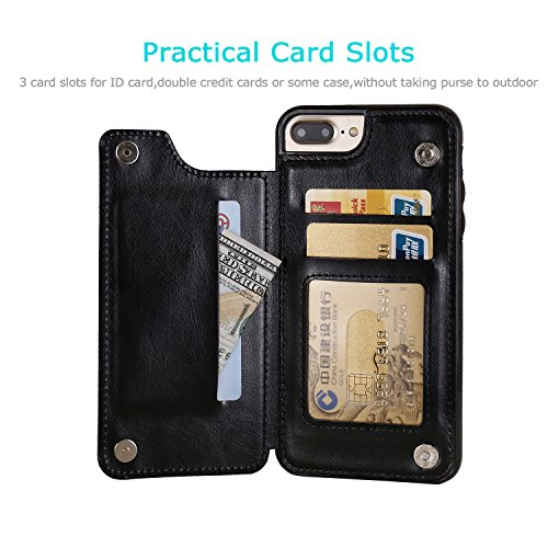 iPhone 7 Plus iPhone 8 Plus Wallet Case with Card Holder, OT ONETOP Premium PU Leather Kickstand Card Slots Case,Double Magnetic Clasp and Durable Shockproof Cover 5.5 Inch(Black) by OT ONETOP (Image #2)