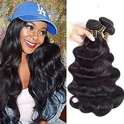 "QTHAIR 10A Body Wave Brazilian Virgin Human Hair 18"" 20"" 22"" 300g Natural Color 100% Unprocessed Brazilian Body Wave Hair Bundles Brazilian Virgin Hair for Black Women"