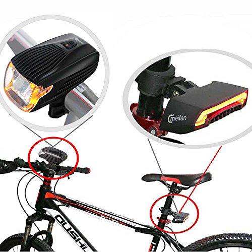 Meilan Bike Light Kit Front Black Smart Lights Bike Headlight Taillight Set,USB Rechargeable,Easy to Instal ((X1+X5) Set) ()