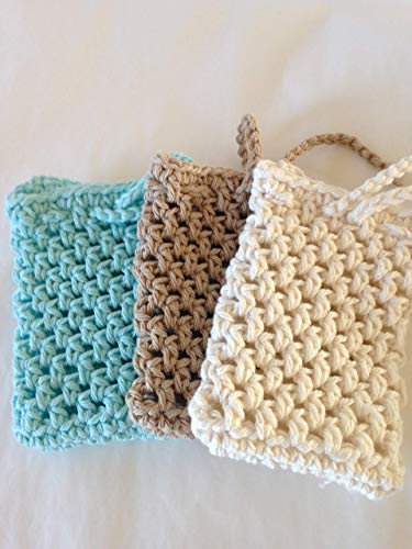 Crochet soap savers in light teal, beige and ecru set of 3, soap sack, soap holder