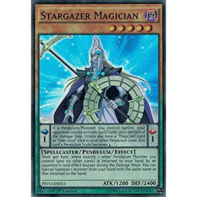 Yugioh 1st Ed Stargazer Magician PEVO-EN011 Super Rare 1st Edition Pendulum Evolution Cards: Toys & Games