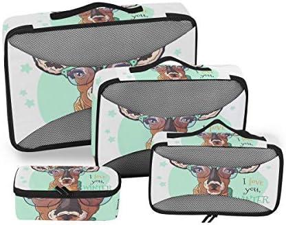 肖像鹿鹿エルククリスマス荷物パッキングキューブオーガナイザートイレタリーランドリーストレージバッグポーチパックキューブ4さまざまなサイズセットトラベルキッズレディース