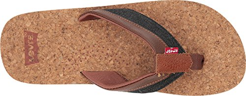 Levis Hombres Vista T Strap Cork Sandal Black / Brown