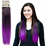 KISSPAT®Purple Fashion Ombre Dip Dyed Straight Hair Extension, Synthetic Clip In Hair Extensions, 5 Clips , 23-24 inches Long