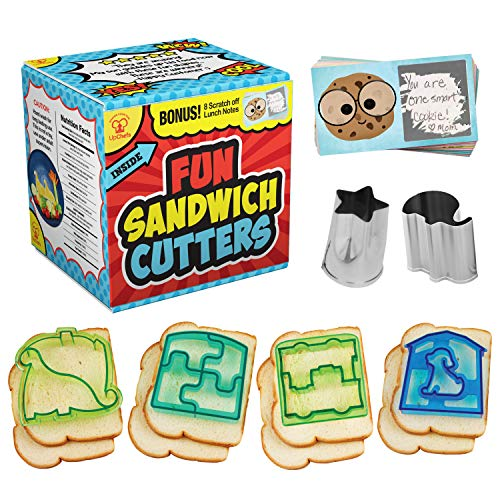UpChefs Sandwich Cutters For kids - Create Healthy School Lunches in Minutes with These Fun Bento Lunch box Accessories - Includes Fruit and Vegetable cookie cutters for kids Plus Fun Scratch Notes
