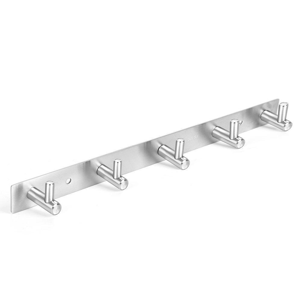 BEIYI Stainless Steel Coat Hook Rack Wall Mount Door Heavy Duty Ultra Strong Life-Long Lasting Hanger for Men & Women Robe Coat Towel Keys Bags Home Kitchen Bathroom Garden Garage (5 hooks)