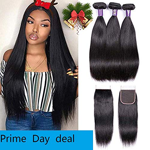 IUEENLY 8A Brazilian Straight Human Hair 3 Bundles with Closure 100% Brazilian Hair Bundles with 4x4 Lace Closure Free Part Natural Color (16 18 20+14) from CHEETAHBEAUTY