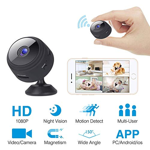 Spy Camera, WiFi Hidden Cameras 1080P Video Recorder Wireless IP Camera for Indoor Home Security Monitoring Nanny Cam 104 Angle Night Vision Motion Detection