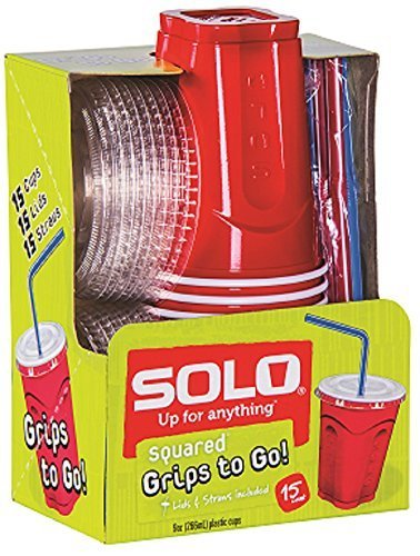 Solo 9 Oz Plastic Cup, Lid, and Straw Combo Pack, 15 Cups (No BPA) ()
