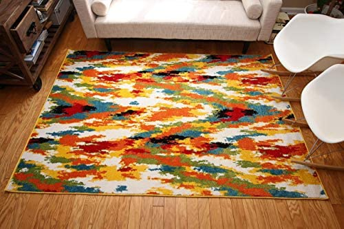 Feraghan Radiance Collection Art Contemporary Collection Modern Splat Wool Area Rug, 8 x 10 , Yellow Blue Orange White