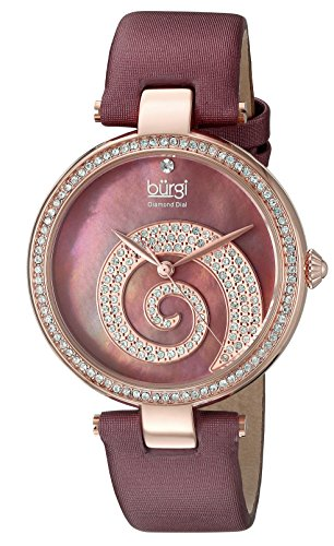 Burgi Women's BUR143BUR  Round Burgundy Mother of Pearl and Rose Gold Dial with Swarovski Crystals Quartz Movement Satin Strap (Swarovski Mop Dial)