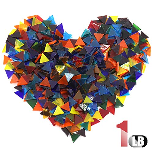 Hilitchi 1lb Assorted Stained Glass Mosaic Tile Mixed Shapes and Colors Glass Pieces for DIY Crafts, Plates, Picture Frames, Flowerpots, Handmade Jewelry and More (Triangle Shaped-A) (Plates Shaped Triangle)