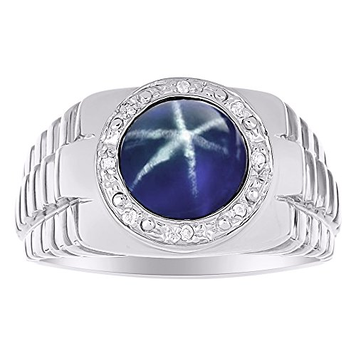Mens Diamond & Simulated Blue Star Sapphire Ring Sterling Silver or Yellow Gold Plated Silver