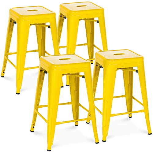 Best Choice Products 24in Set of 4 Indoor Outdoor Stackable Backless Counter Height Stools – Yellow