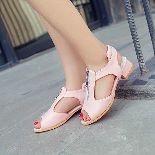 Mee Shoes Damen süß modern bequem Slingback Peep toe Reißverschluss dicker Absatz Niedrig Blockabsatz Sandalen Pink