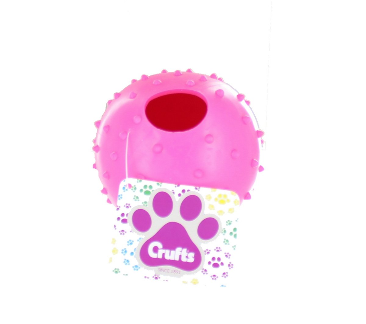Crufts Colourful Large Rubber Dog Puppy Play & Treat Ball - 9 cm - Pink