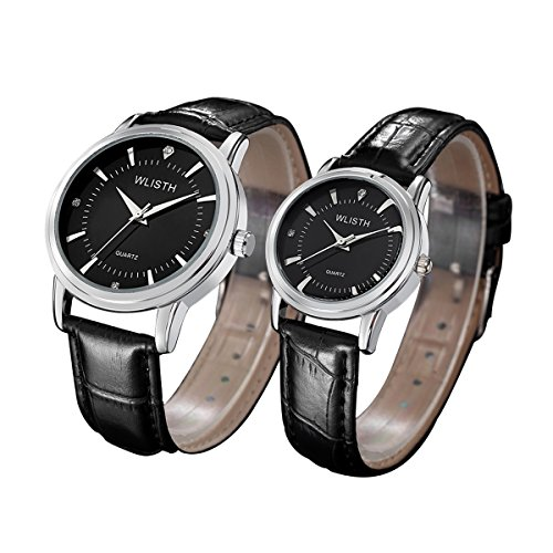 Leather Wrist Watch for Lovers/Couples Black Band Casual Analog Quartz Watches Classic Quartz Business Wristwatch Waterproof watch (Black) by Cheeky Chic