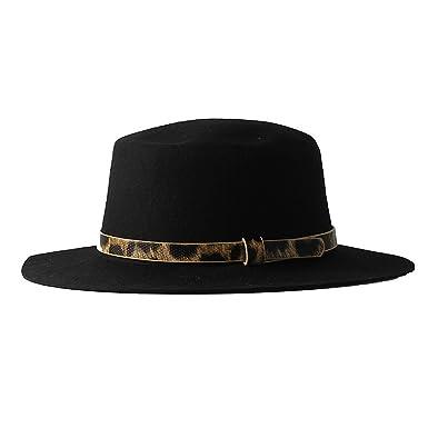 Beautiful 100/% Wool Black Fedora Hat with PU Leopard Print Band