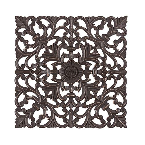Madeleine Home Fronti Ornate Wall Medallion | Hand Carved Wall Plaque, Contemporary Accent Home Décor with Entwined Floral Baroque Design | 23
