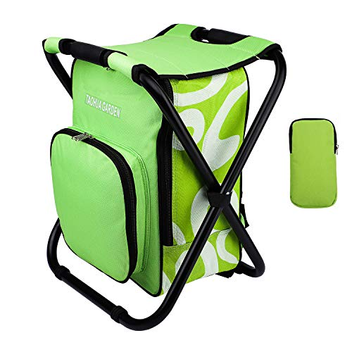 TAOHUA GARDEN Folding Camping Chair & Backpack with Cooler Insulated Picnic Bag Camping Stool Oxford Fabric Hiking Fishing Travel Beach BBQ Outdoor activies ()