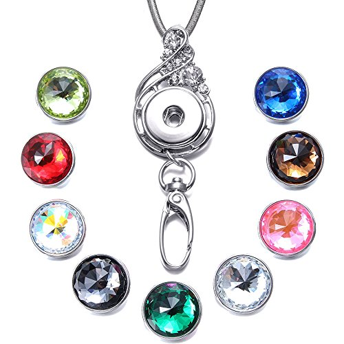 Soleebee 31.5 inches Stainless Steel Lanyard ID Badge Necklace Bonus 9pcs Facets Crystal Glass Snap Charms (Music Note) -
