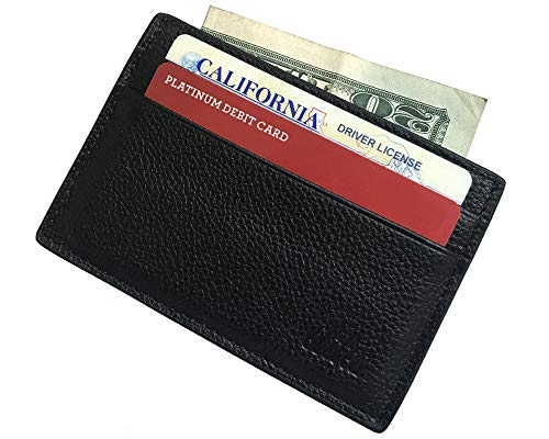 Slim Front Pocket Wallet - Premium Full Grain Leather Card Case - Thin Credit Card Holder - Minimalist Style for Men or Women ()