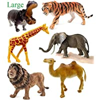 SaleON 6pc Large Size Wildlife Model Children Puzzle Early Education Gift Mini Jungle Animal Toy Set Realistic Animal Figures Toys for Kids , Animal Toy Set Play for Kids (1327)