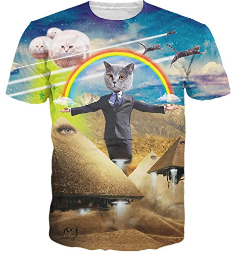HWHColor Men Women Print Rainbow Cat Cosplay Graphic Tee Funny T Shirt Clothes