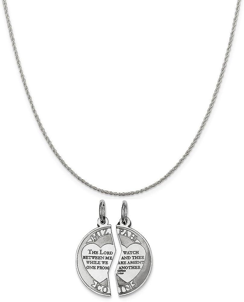16-20 Sterling Silver Break Apart Mizpah Charm on a Sterling Silver Chain Necklace