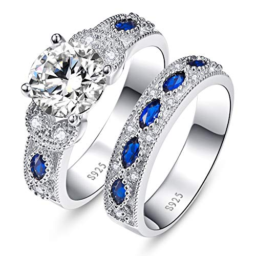 (BONLAVIE 3.5ct Round Cubic Zirconia Marquise Created Blue Sapphire 925 Sterling Silver Engagement Ring Set (10))