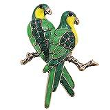 Green Couple Parrot Bird Pin Brooch