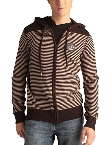 Ed Hardy Mens Tiger Emblem Striped Zip Up Hoodie Sweater- Coffee - (Ed Hardy Men Sweater)