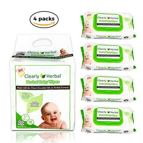 Clearly Herbal Gentle Baby Wipes (4 Packs x 72 ct4 = 288 Wipes)
