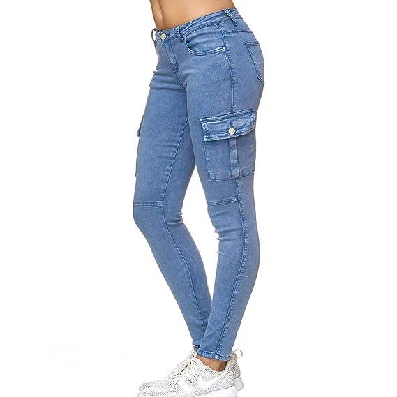Yying Mujer Cargo Vaqueros Multi-Bolsillo Denim Pantalones ...