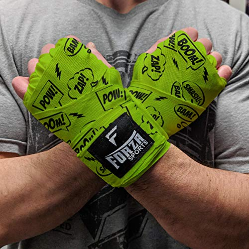Forza Sports 180 Mexican Style Boxing and MMA Handwraps - Comic Book Lime Green