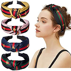 Cute Knot Headbands for Women – 4 Pack Hair Hoops Wide Stripe Headband with Bee Animal, Cross Knot Hair Band with Cloth Wrapped