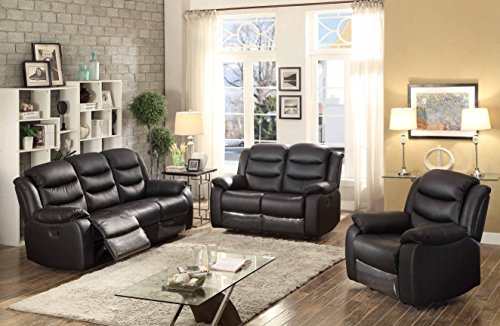 AC Pacific 3 Piece Transitional Living Room Reclining Leather Sofa Set with Sofa, Loveseat and Chair, Black