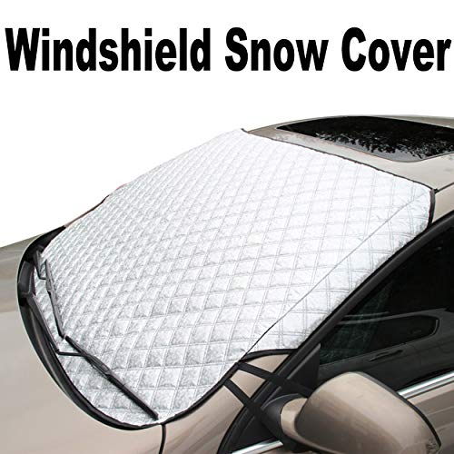 Supernova Universal Car Windshield Cover for Snow and Ice & Sun Shade Protector, Fits for Compact Cars, Sedans, Small Crossovers & Small SUVs – 56″(W) X 36″(H) (Standard-size)