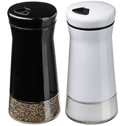 CHEFVANTAGE Salt and Pepper Shakers Set with Adjustable Holes - Black and White