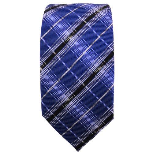 étroit TigerTie cravate bleu ultramarine noir argent gris à carreaux - Tie