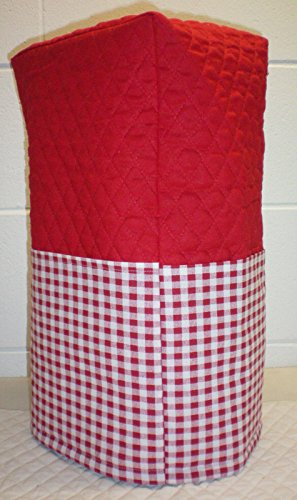 Quilted Checked Large Blender Cover (Red) - Quilted Blender Appliance Cover