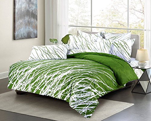 Swanson Beddings Tree Branches 3-Piece 100% Cotton Bedding Set: Duvet Cover and Two Pillow Shams (Green White, (Green Queen Comforter Set)