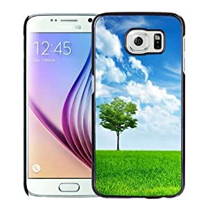 NEW Unique Custom Designed Samsung Galaxy S6 Phone Case With Light Green Tree Grass Lockscreen_Black Phone Case