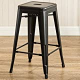 Cheap 26-Inch Backless Metal Counter Height Bar Stools Set of 2 Vintage Tolix Chairs Matt Black