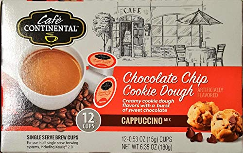 Cafe Continental CHOCOLATE CHIP COOKIE DOUGH Cappuccino 12 Cups. Single Serve Brew Cups, Keuring 2.0. (Chocolate Chip Cookie Dough)