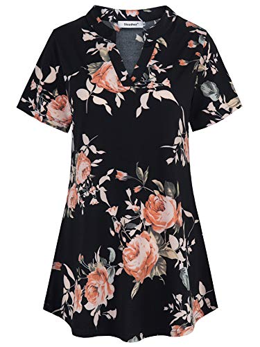 Sixother Mandarin Collar Womens Tops, 2XLarge Fit and Flare Indian Style Tunic Shirt Flower Patterned Scoop Neck Modern Pullover Blouses Polka Dot Fancy Travel Knit Tee Ruched Cross-Front Black Pink