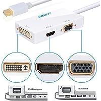 Bosjett® Primium Golden-plated Mini Displayport DP Thunderbolt Male to DVI VGA HDMI Female TV AV Video HDTV Adapter Cable 3 In1 for Mac, Macbook, Macbook Pro, Macbook Air, iMac, Surface Pro 1 2 3, Lenovo Thinkpad X1 Carbon, X230/240s - White