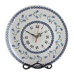 Blue Rose Polish Pottery Tulip Clock
